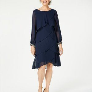 S.L. Fashions Navy Beaded Long Sleeve Tiered Tulip